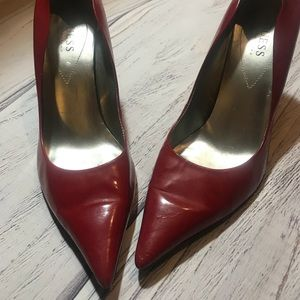 Fire Engine Red Guess Pumps- 9 1/2